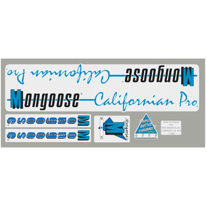 1988 Californian Pro Mongoose decal set -  chrome frame