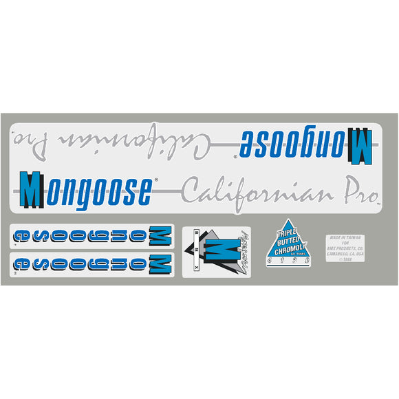 1988 Californian Pro Mongoose decal set -  dark grey frame
