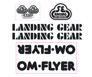 OM Flyer Decal set - black on clear