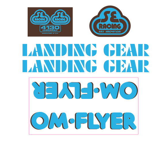 OM Flyer Decal set - blue w/brown shadow