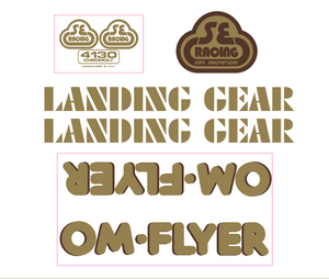 OM Flyer Decal set - gold w/brown shadow