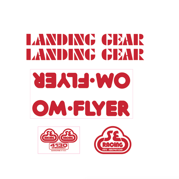 OM Flyer Decal set - red on clear