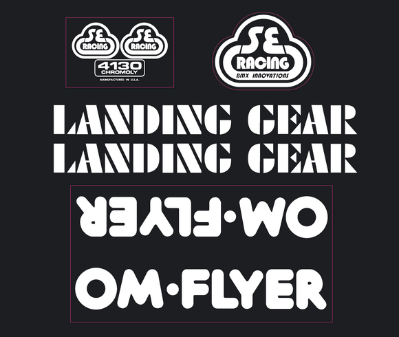 OM Flyer Decal set -white on clear
