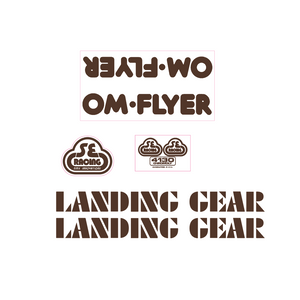 OM Flyer Decal set - brown on clear