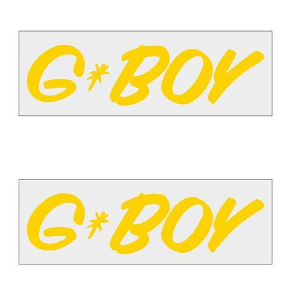 G-Boy Script - Yellow Horizontal Decal Pair Old School Bmx