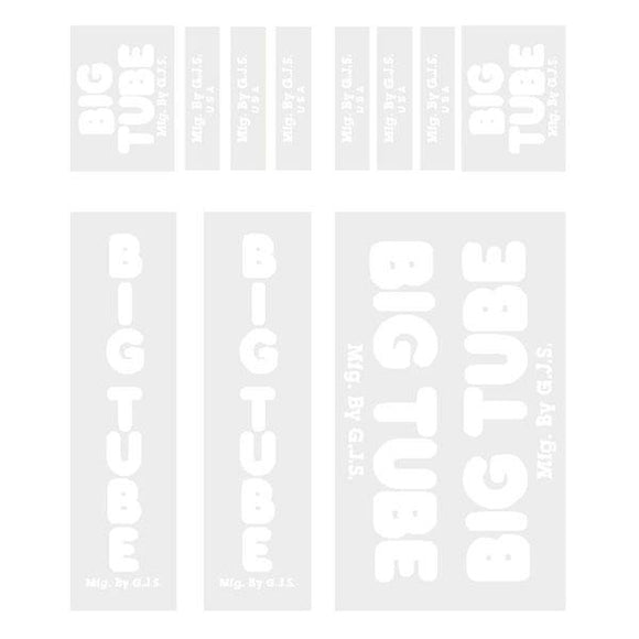 GJS - BIG TUBE - white decal set