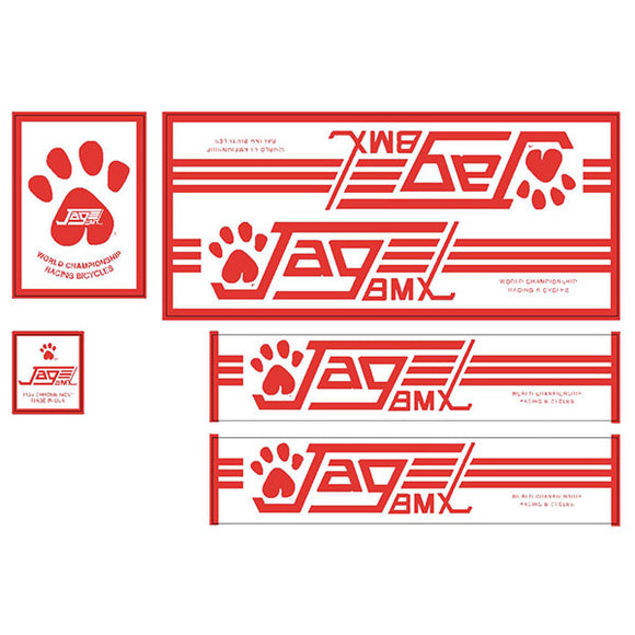 1982-83 Jag decal set - red on white