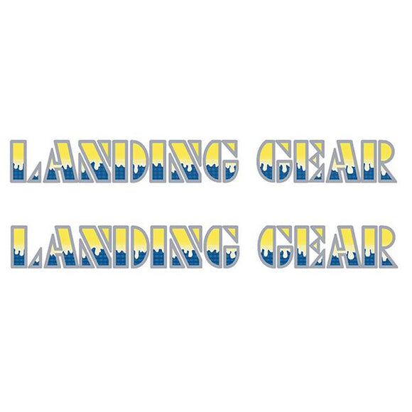 SE Racing Landing Gear Drippy Font decals - YELLOW/BLUE/SILVER