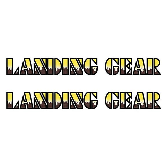 SE Racing Landing Gear Drippy Font decals - YELLOW/BROWN/BLACK