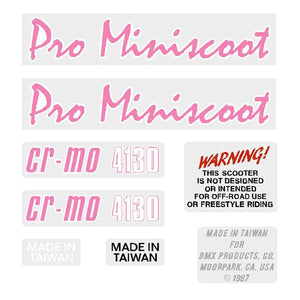 1987 Mongoose PRO Miniscoot Decal set - pink