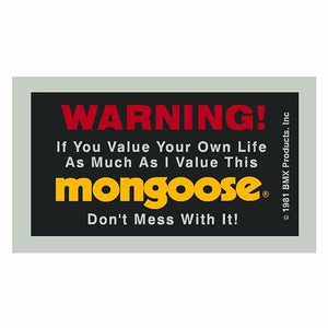 Mongoose Warning decal