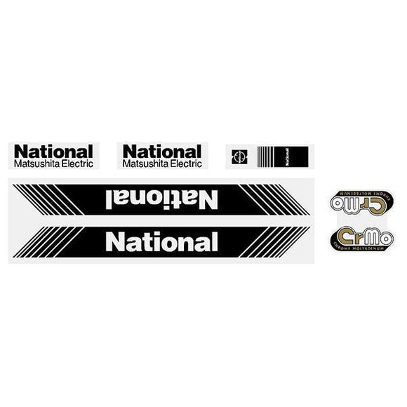Tange - National Matsushita Black Decal Set Old School Bmx Decal-Set