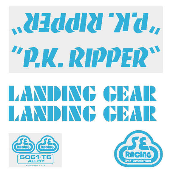 P.K. Ripper Decal set - baby blue on clear