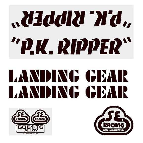 P.K. Ripper Decal set - black on clear