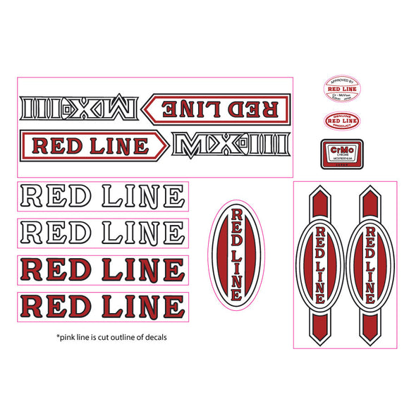 Redline MX-III early font decal set