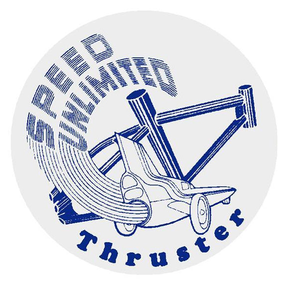 Thruster - Speed Unlimited Round Decal Blue On Clear Old School Bmx
