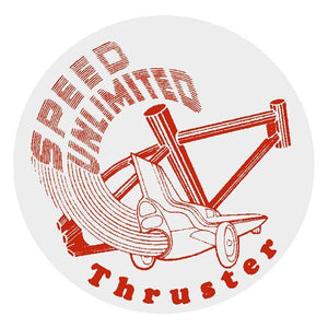 Thruster - Speed Unlimited Round Decal Red On Clear Old School Bmx