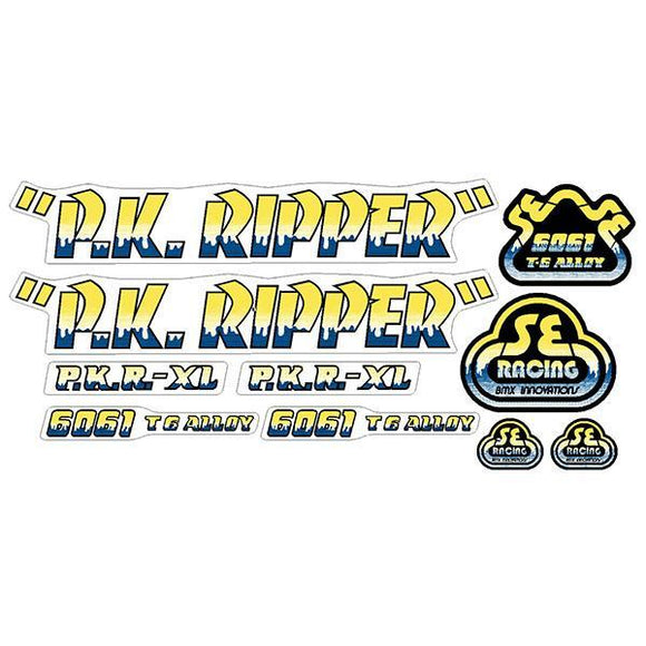 P.K. Ripper Decal set - Drippy Font - Yellow/Blue