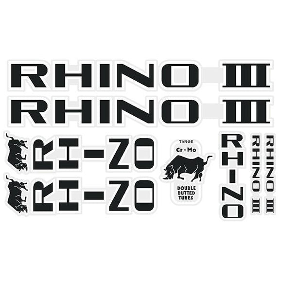Tange Rhino Iii - Black With White Outline Decal Set Old School Bmx Decal-Set