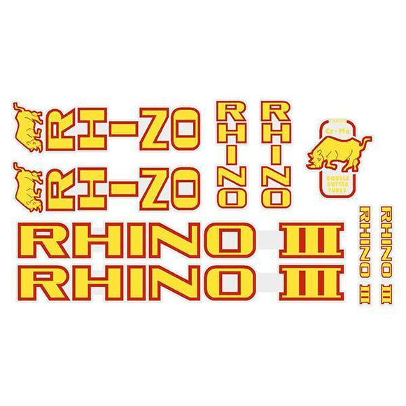 Tange Rhino Iii - Yellow With Red Outline Decal Set Old School Bmx Decal-Set