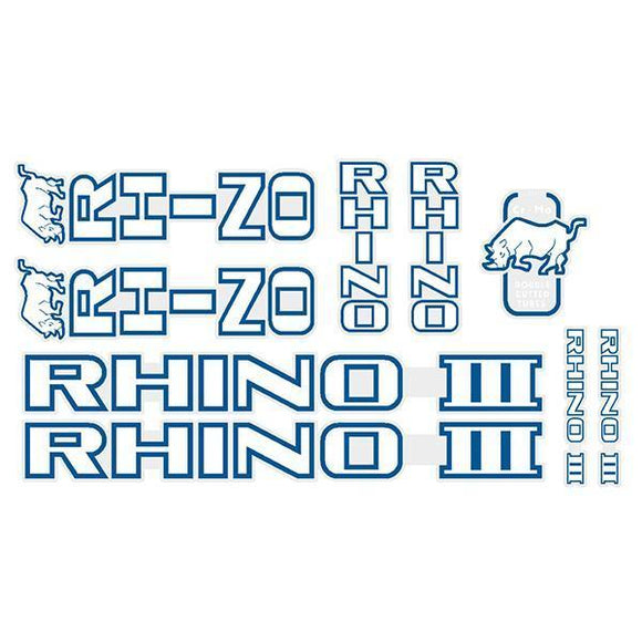 Tange Rhino Iii - White With Blue Outline Decal Set Old School Bmx Decal-Set