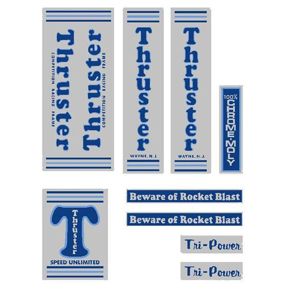 Thruster - Tri Power Blue T On Chrome Old School Bmx Decal-Set