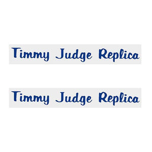 Thruster - Timmy Judge Decals Blue On Chrome Old School Bmx Decal