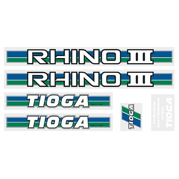 Tioga By Tange Rhino Iii - Green Blue Chrome Decal Set Old School Bmx Decal-Set