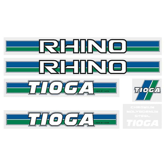 Tioga By Tange Rhino - Green Blue Chrome Decal Set Old School Bmx Decal-Set