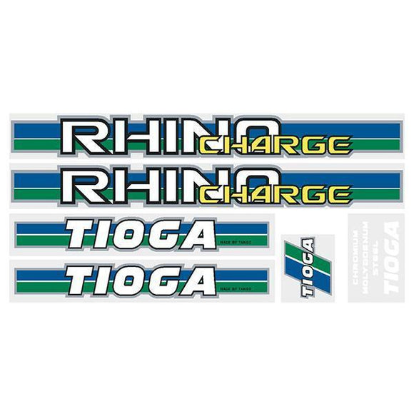 Tioga By Tange Rhino Charge - Green Blue Chrome Decal Set Old School Bmx Decal-Set