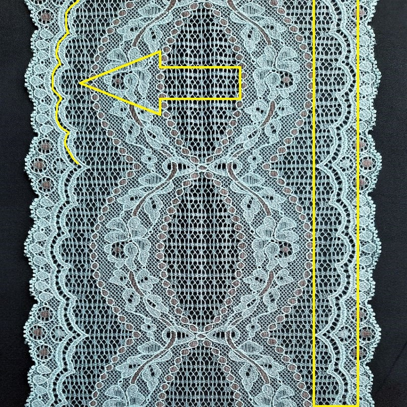 Blue Viscose lace ribbons with cutting lines marked in yellow