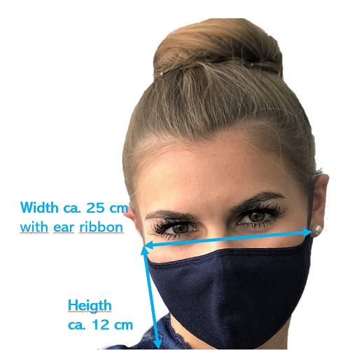 Woman in blue mask