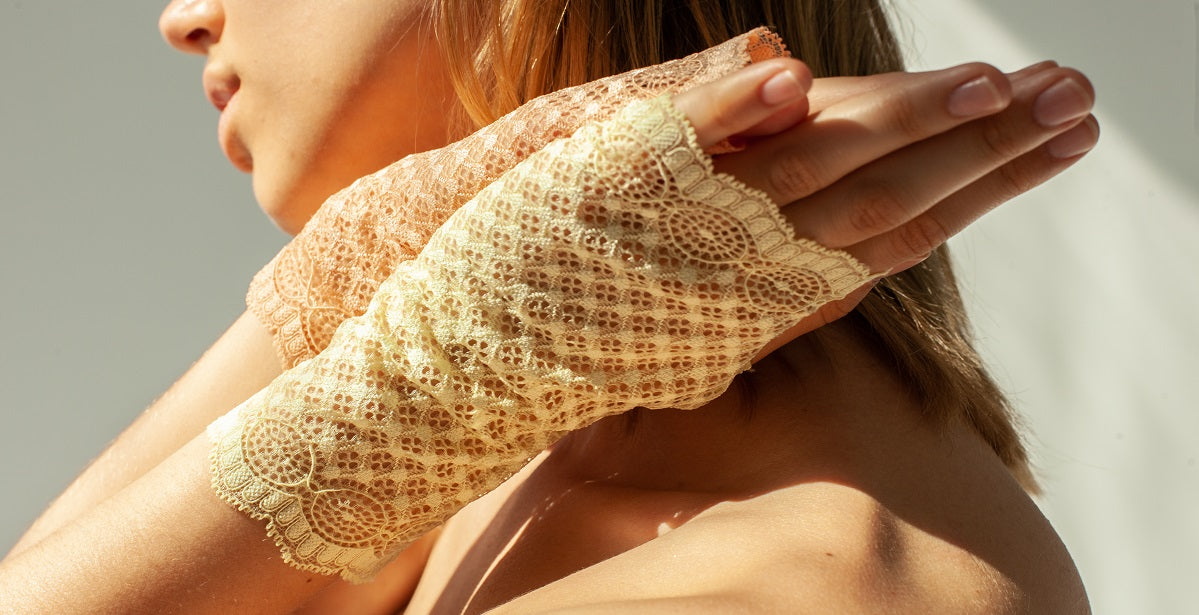 Woman wearing lace gloves