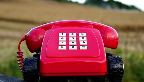 red telephone in a green field