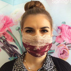 Maske | Winded Leaves | Pink Rose | 2-Lagig | One Size