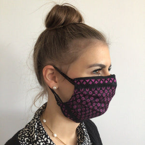 Maske | Checkered | Black Pink | 2-Lagig | One Size