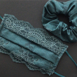 Masken Set mit passendem Scrunchy | Winded Leaves | Emerald | One Size