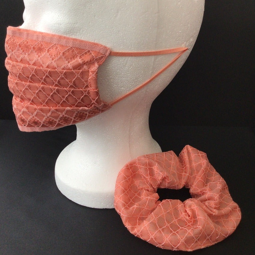 Set Maske + Scrunchy | Checkered | Lachs | One Size