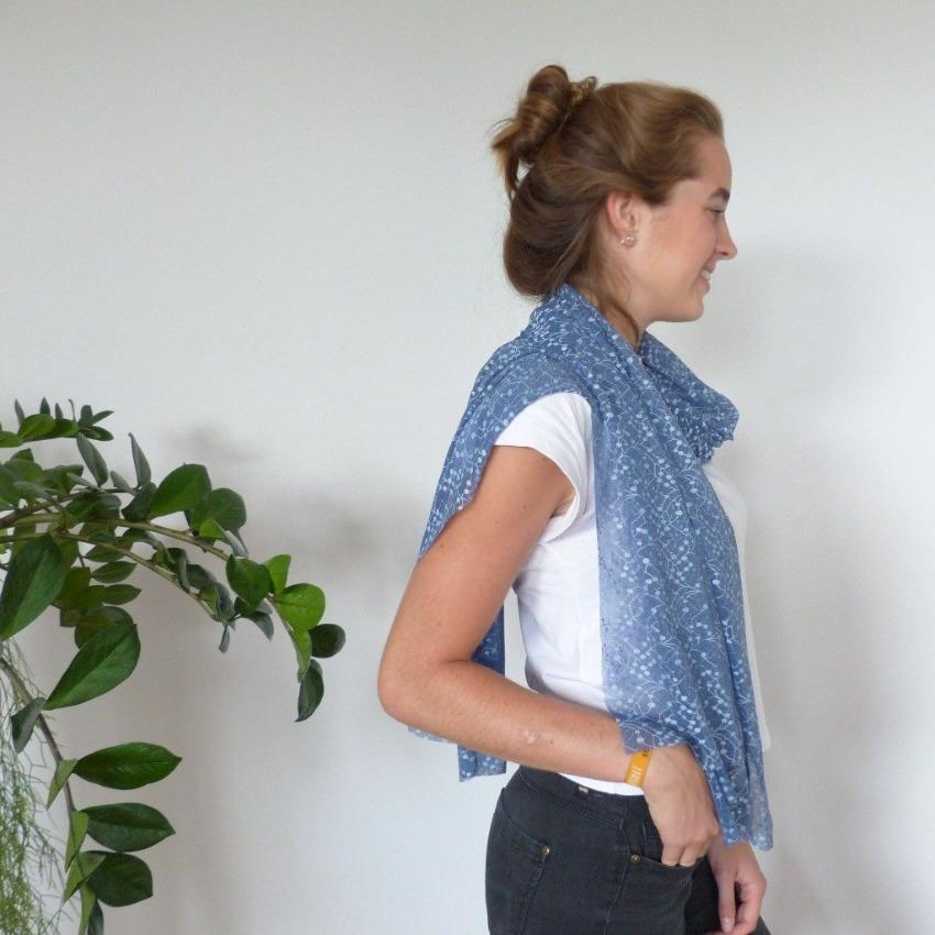 Chanty Lace Scarf | Geometric Leaves | Biijou Blue | One Size