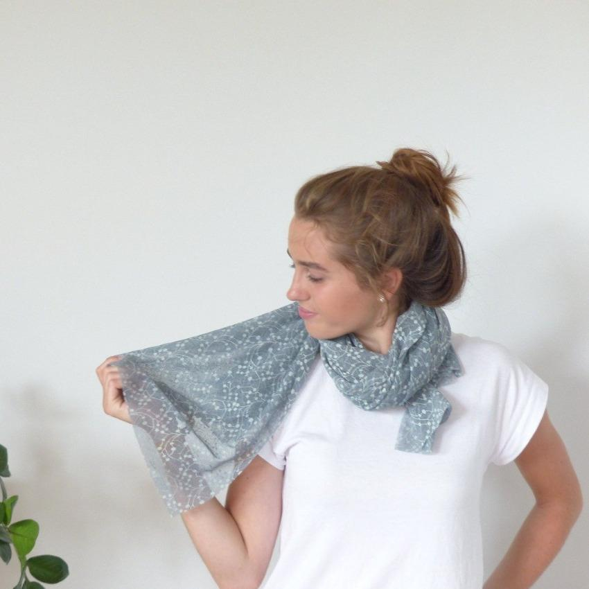 Scarf | Geometric Leaves | Monument & Sky Mint | One Size