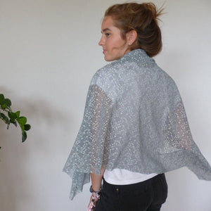 Chanty Lace Scarf | Geometric Leaves | Monument & Sky Mint | One Size