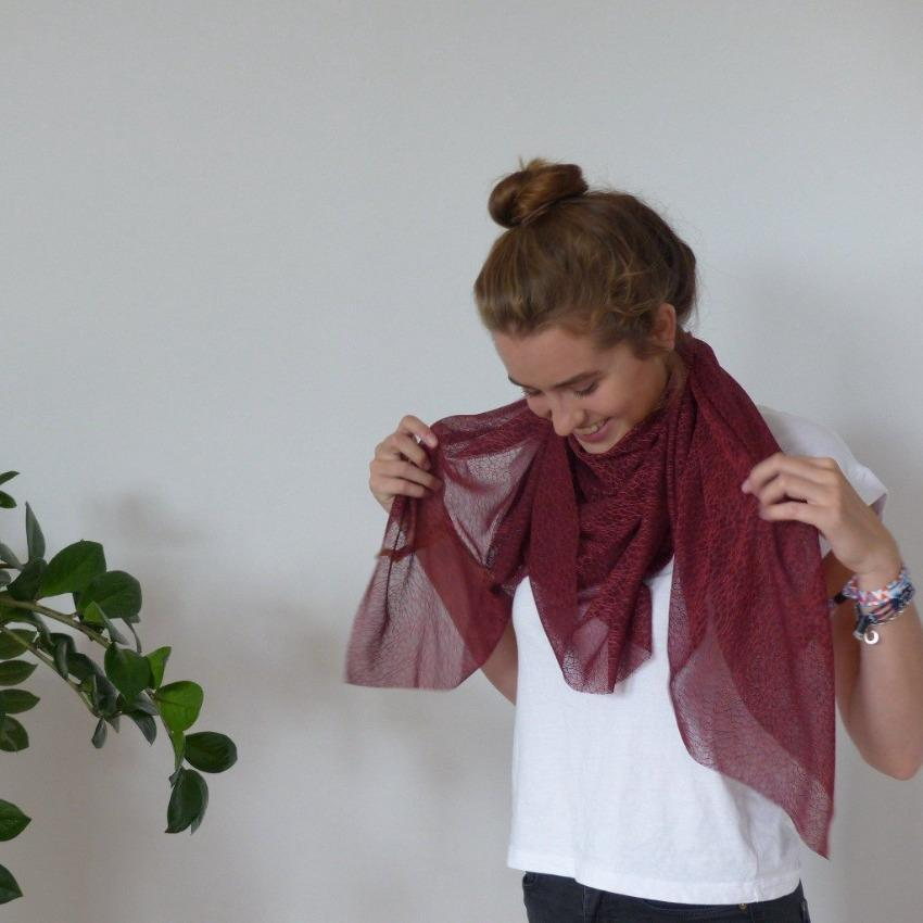Chanty Lace Scarf | Spidery Webs | Bordeaux | One Size