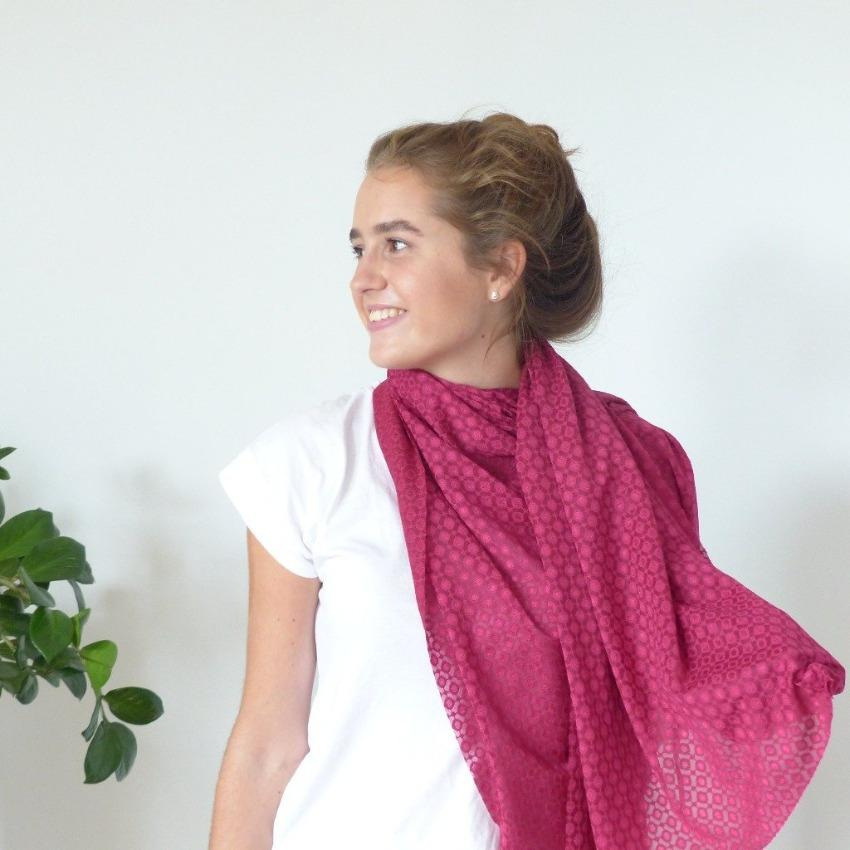 Scarf | Spotty Grid | Red Plum | One Size