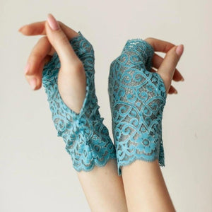 Cotton | Chanty Lace Gloves | Ornamental Flowers | Pool | One Size