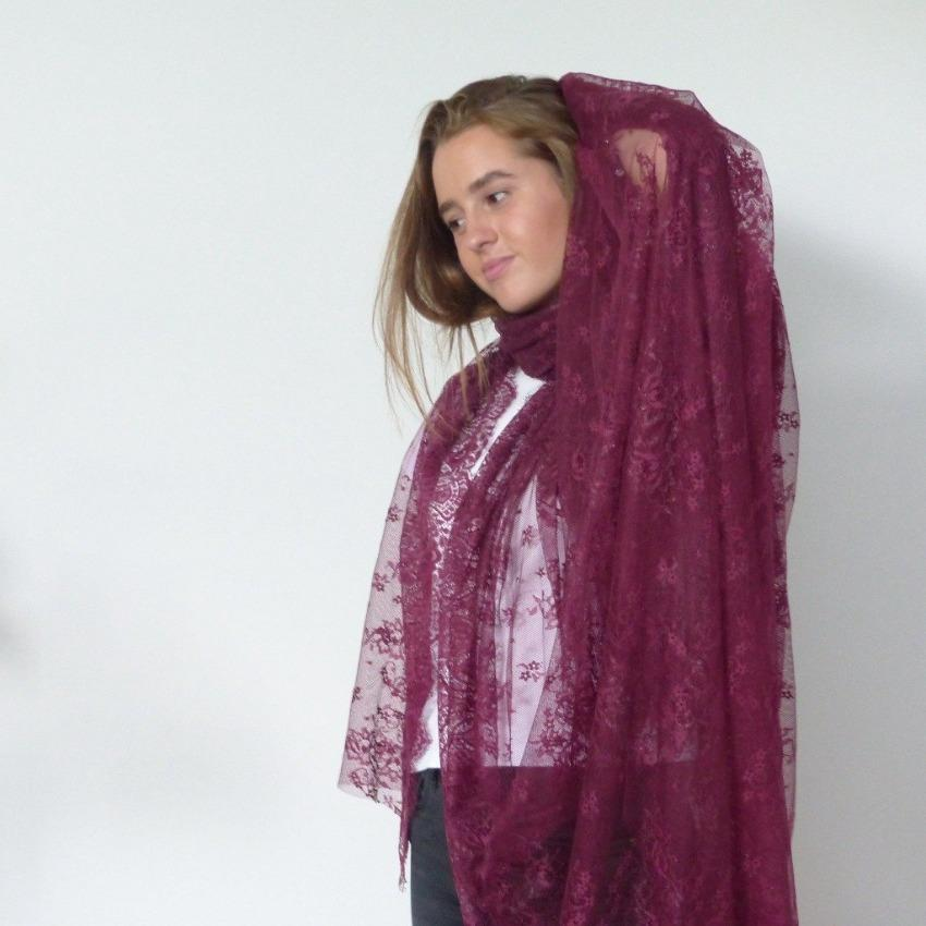 Chanty Lace Scarf | Rythmic Ornamentals | Cranberry | One Size