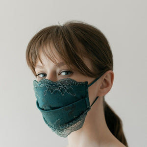 Set Maske + Scrunchy | Winded Leaves | Emerald | One Size