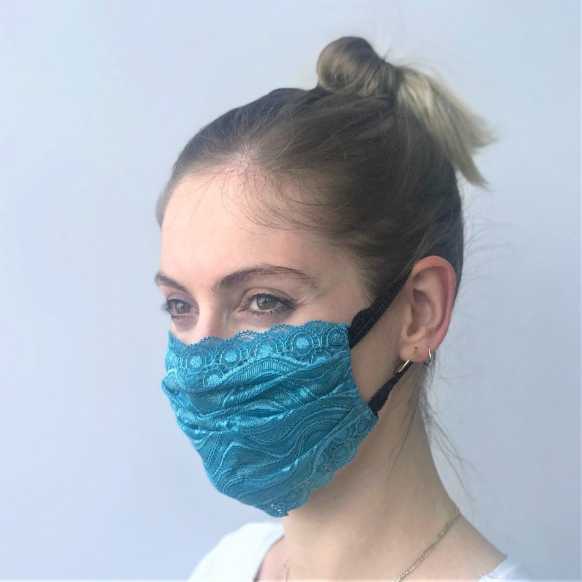 Maske | Waves | Teal | 2-Lagig | One Size