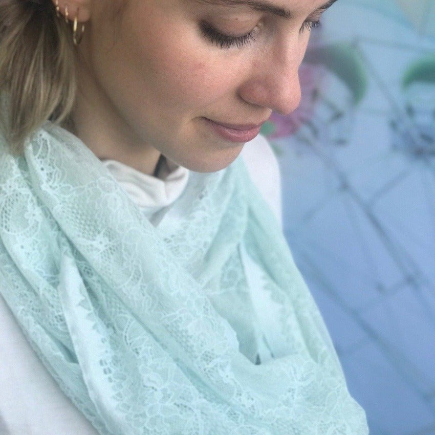 Loop Scarf | Flowing Lines | Mint Drops | One Size