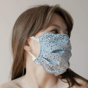 Maske | Flowery Field | Steel Blue | 2-Lagig | One Size