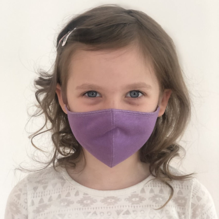 Maske | Oval | Violet | Kids 6-9 | 2-Lagig | Soft Cotton